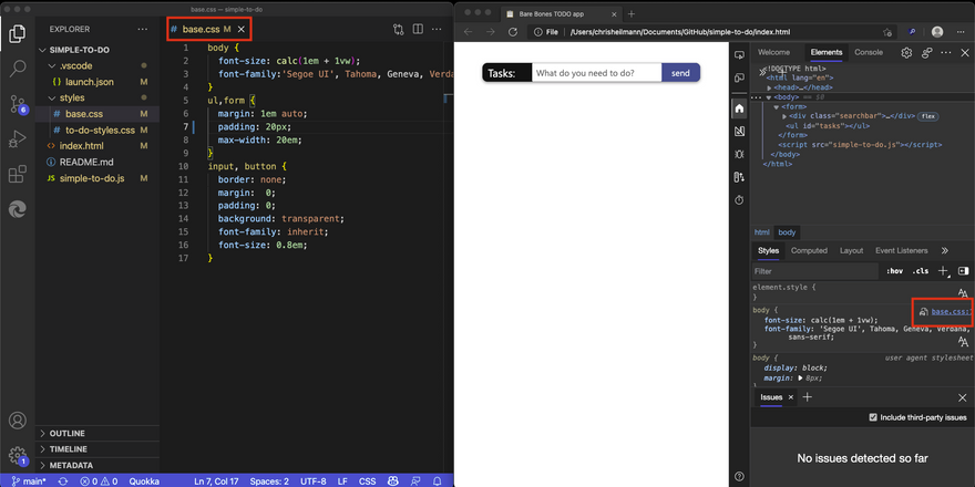 CSS file opened in VS code