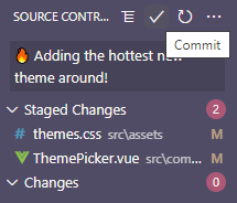 A commit message and the checkmark highlighted to show how to commit changes