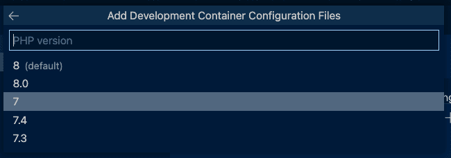 Dev Container PHP Version