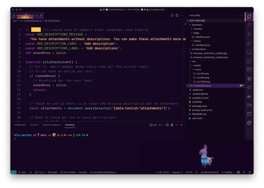 VS Code with the Fortnite theme's Legendary mode enabled
