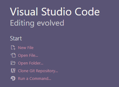 VS Code welcome page options showing option called Clone Git Repository