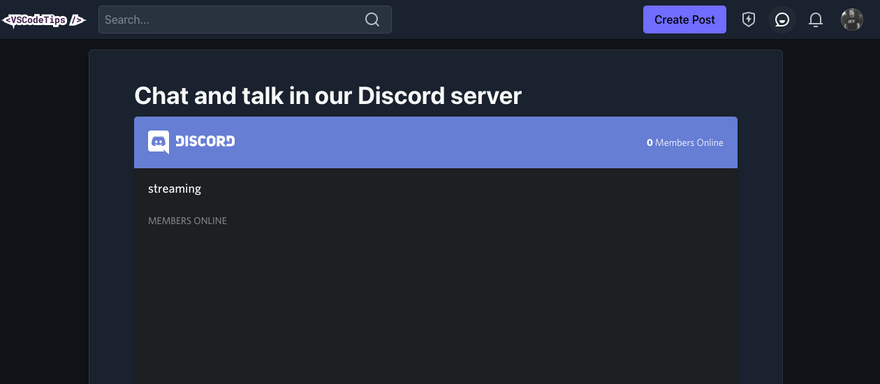 Embedded Discord page on community.VSCodeTips.com